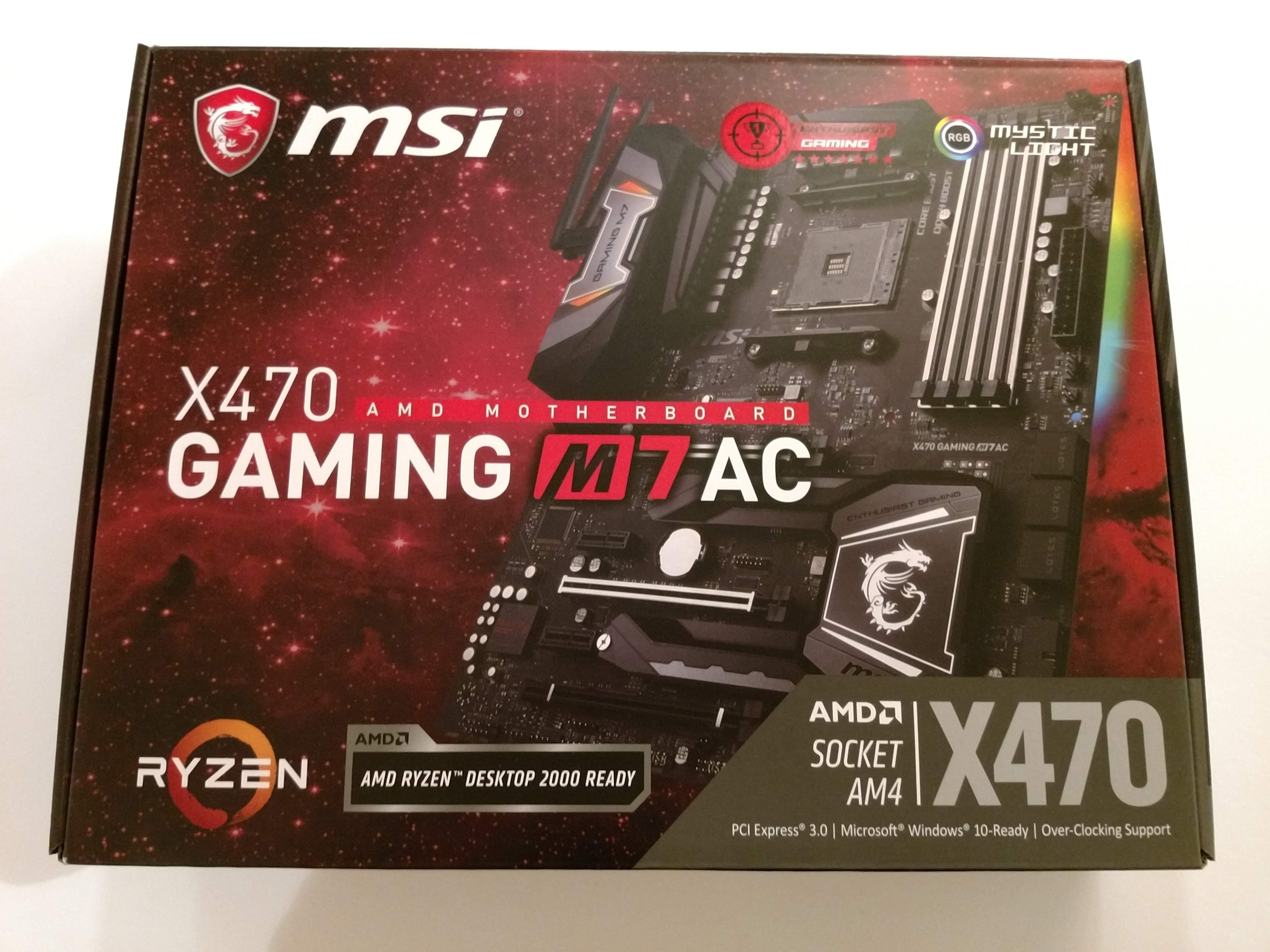 Klicken Sie auf die Grafik für eine größere Ansicht  Name:2. MSI X470 Gaming M7 AC Verpackung Vorderseite.jpg Hits:31 Größe:1,05 MB ID:1000574