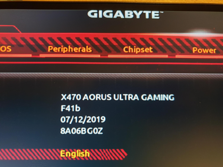 Gigabyte X470 Aorus Ultra Gaming Bios F41