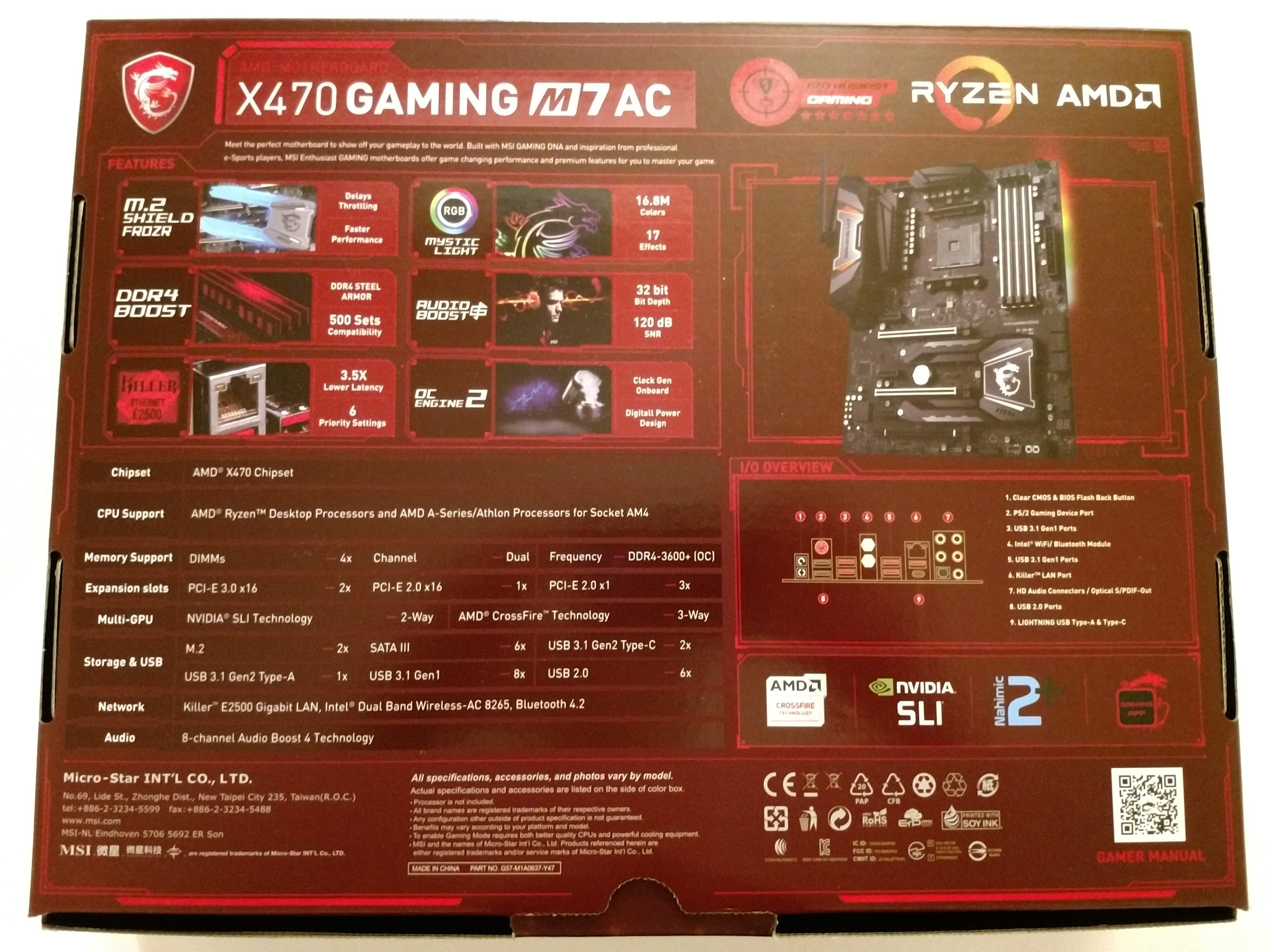 Klicken Sie auf die Grafik für eine größere Ansicht  Name:3. MSI X470 Gaming M7 AC Verpackung Rückseite.jpg Hits:40 Größe:756,2 KB ID:1000575