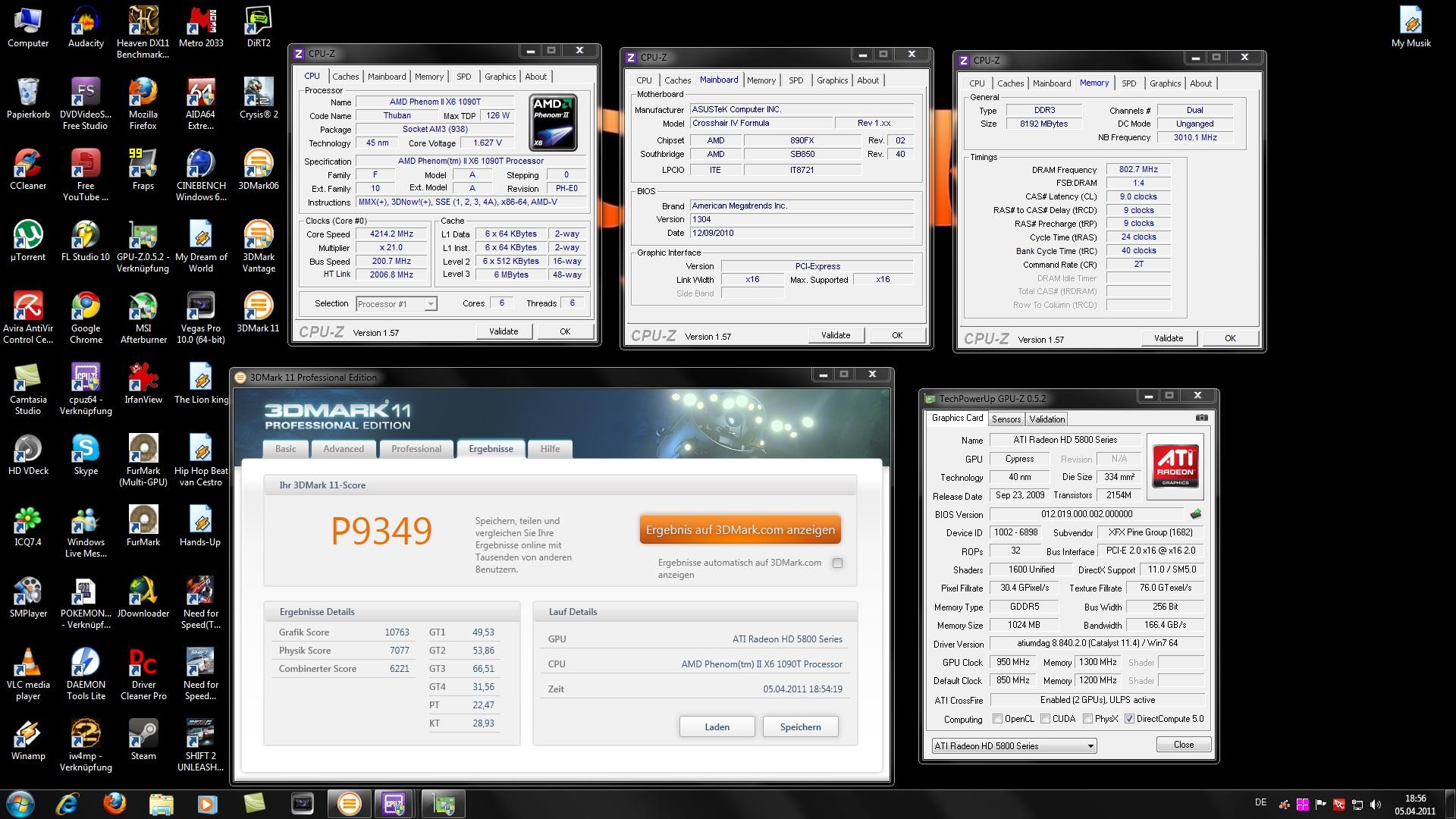 Meine besten Benchmarkergebnisse mit dem AMD Phenom II X6 1090T