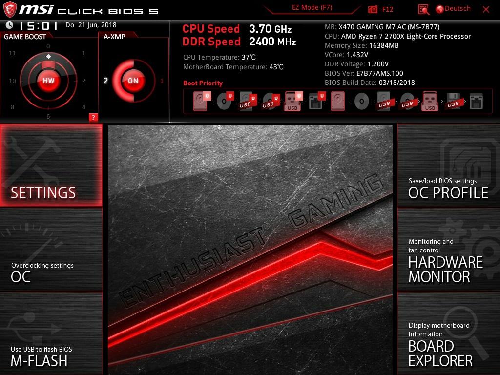 Klicken Sie auf die Grafik für eine größere Ansicht  Name:610. MSI Click Bios 5 - Advanced Mode - Übersicht.jpg Hits:39 Größe:290,8 KB ID:1000602