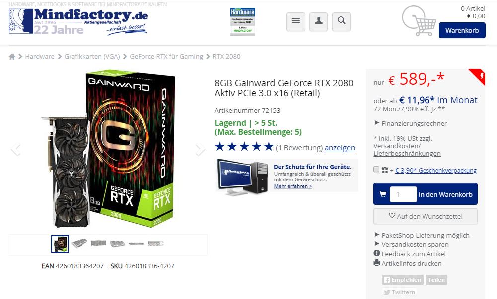 Klicken Sie auf die Grafik für eine größere Ansicht  Name:8GB Gainward GeForce RTX 2080 Aktiv PCIe 3.0 x16.PNG Hits:28 Größe:334,4 KB ID:1027061