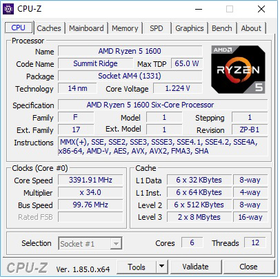 AMD Ryzen R5 1600 CPU Z