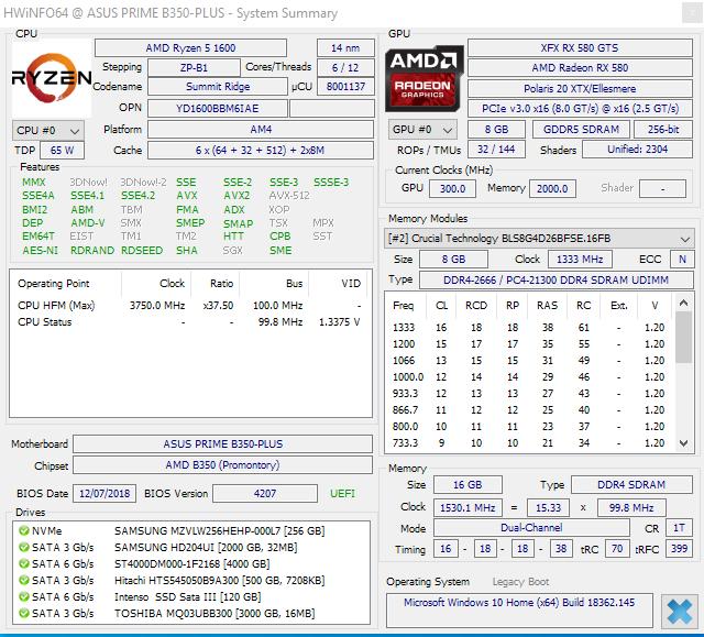 RX580 und Ryzen 1600 Framedrop und Freeze alle 10 Minuten