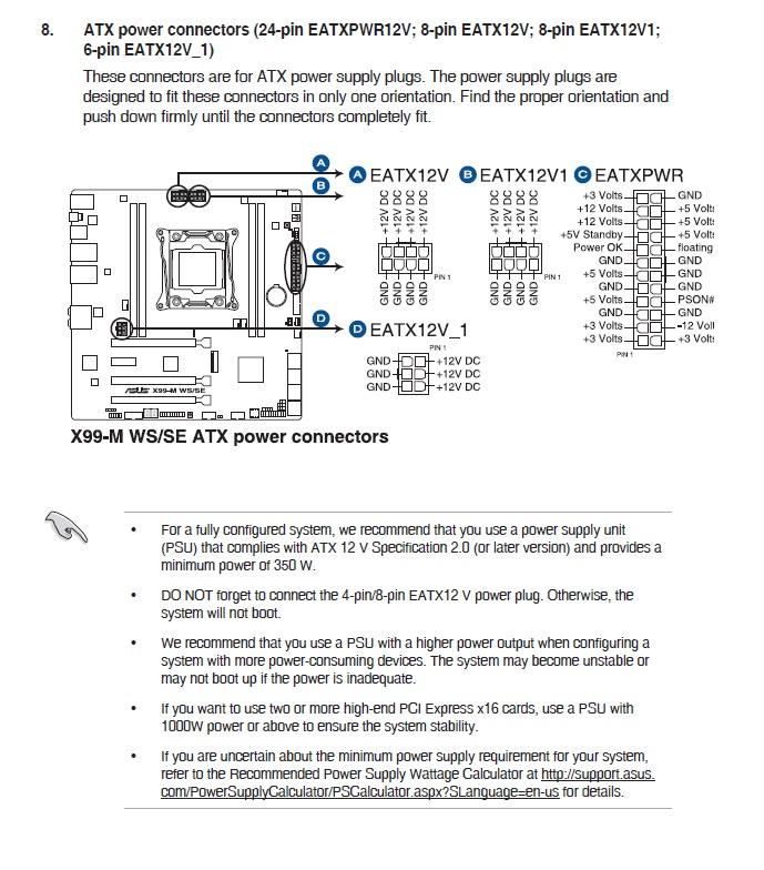 Asus X99-M WS/SE ... nur was für ein Netzteil soll dort passen?