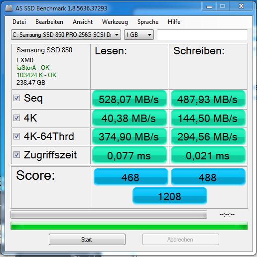 Klicken Sie auf die Grafik für eine größere Ansicht  Name:AS SSD Bench 850 PRO 256GB.PNG Hits:91 Größe:61,4 KB ID:871509