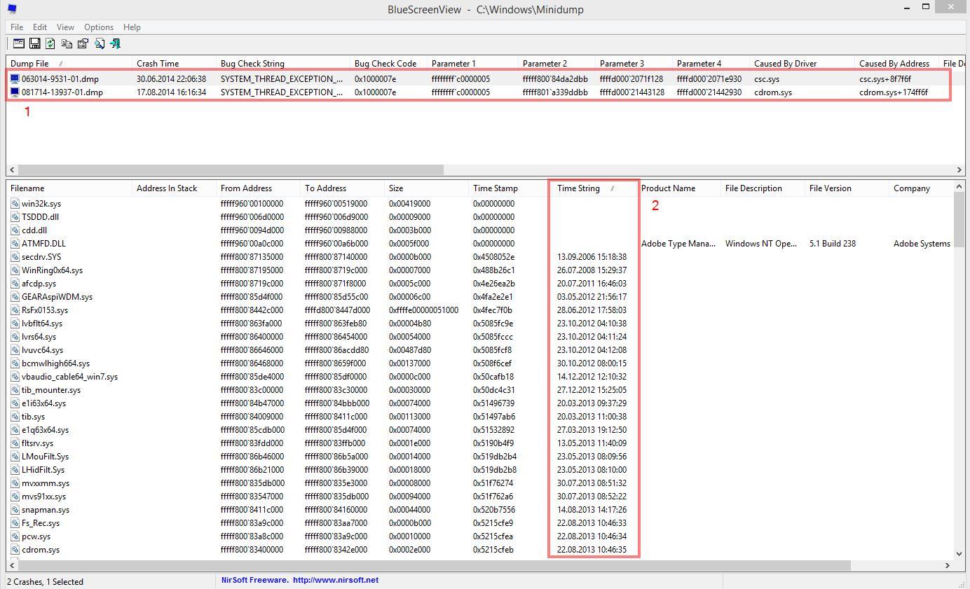 Klicken Sie auf die Grafik für eine größere Ansicht  Name:Bluescreenview.jpg Hits:1268 Größe:205,0 KB ID:762514