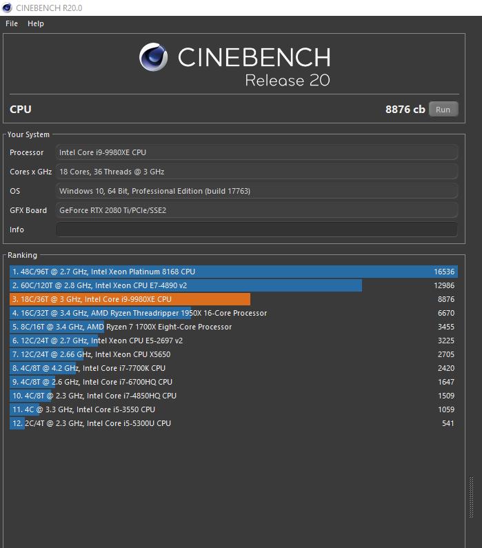 Klicken Sie auf die Grafik für eine größere Ansicht  Name:Cinebech20_9980xe_oc46tdp225.png Hits:21 Größe:56,0 KB ID:1038303