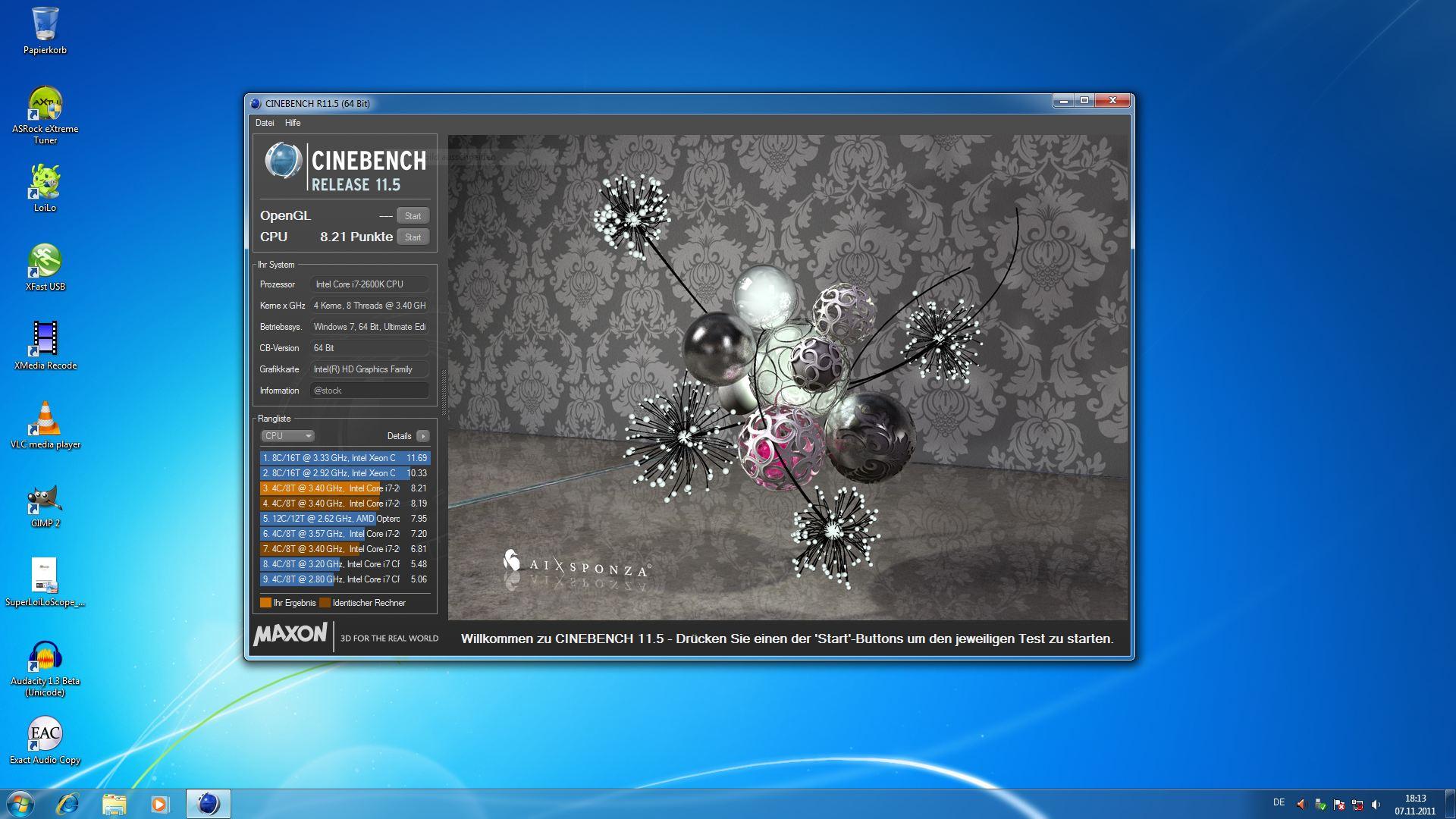 Klicken Sie auf die Grafik für eine größere Ansicht  Name:Cinebench_OC.JPG Hits:2841 Größe:256,2 KB ID:492057