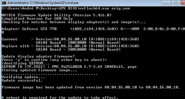 GTX 770] BIOS Flash fehlerhaft