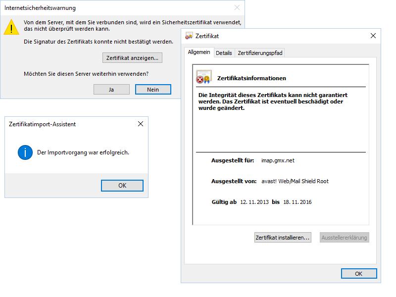 Outlook 2016 Zertifikatfehler ... Wie bekomme ich den Fehler weg?