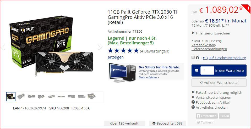 PCGH-Ultimate-PC 2080Ti-Edition: Intel Core i9-9900K + Palit