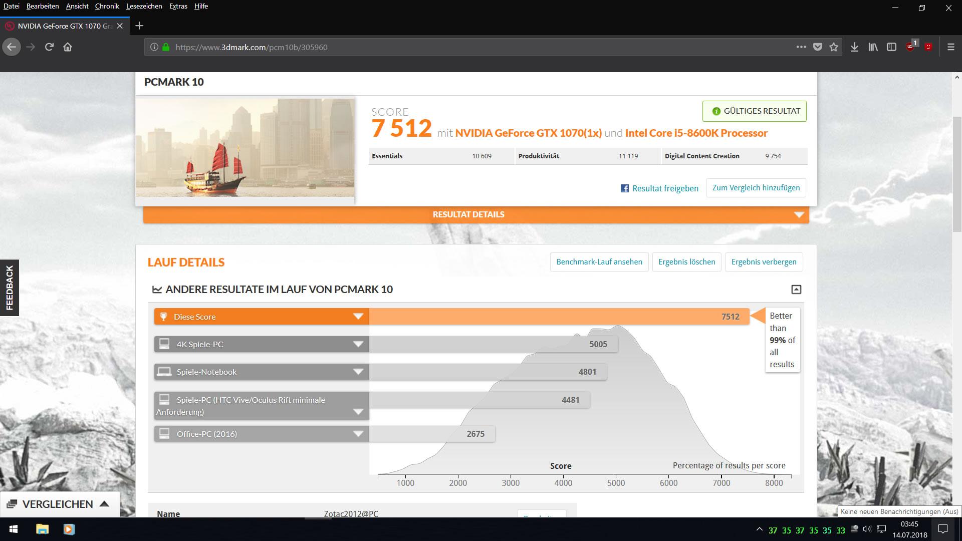 Klicken Sie auf die Grafik für eine größere Ansicht  Name:PCMark 10 mit i5 8600K u. GTX 1070 by Zotac2012.jpg Hits:28 Größe:239,5 KB ID:1002800