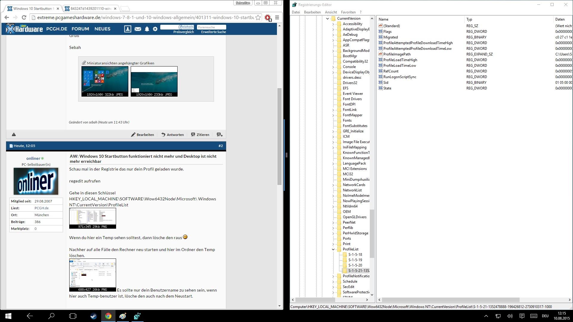 windows 10 startbutton funktioniert nicht mehr und desktop ist nicht mehr erreichbar. Black Bedroom Furniture Sets. Home Design Ideas