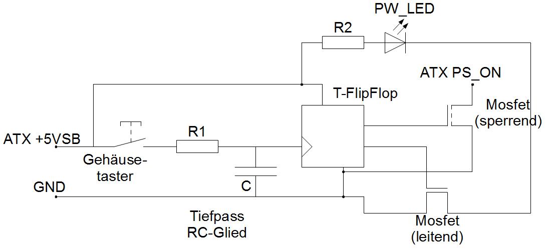 Funktioniert diese Idee zum Einschalten eines ATX-Netzteils? (ohne ...