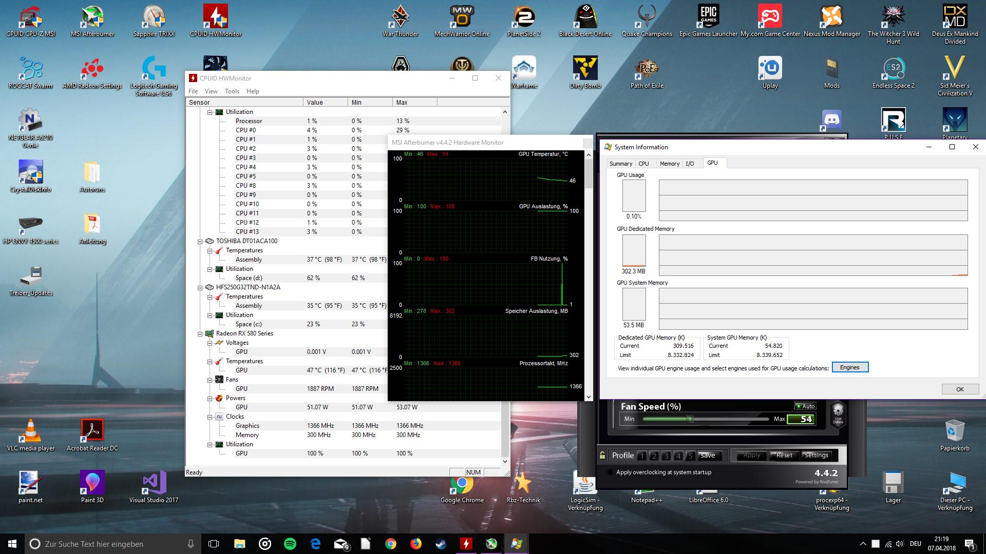 GPU im Leerlauf bei 100% auslastung?