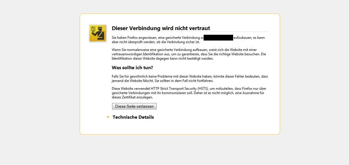 Website trotz abgelaufenem Zertifikat aufrufen