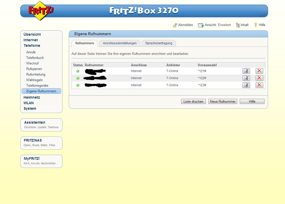 fritzbox 3270 telefon