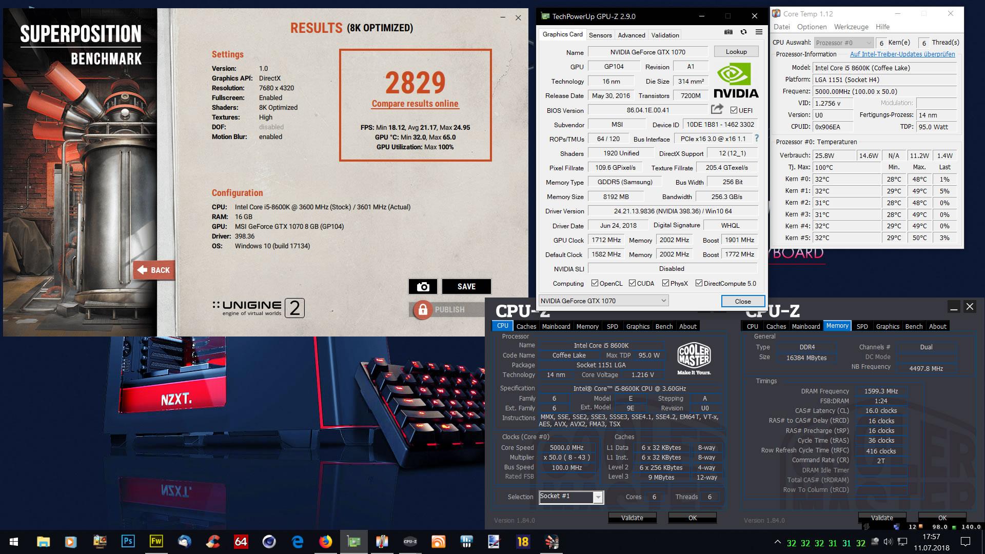 Klicken Sie auf die Grafik für eine größere Ansicht  Name:Unigine Superposition 8K Optimzed mit GTX 1070.jpg Hits:34 Größe:474,4 KB ID:1002487