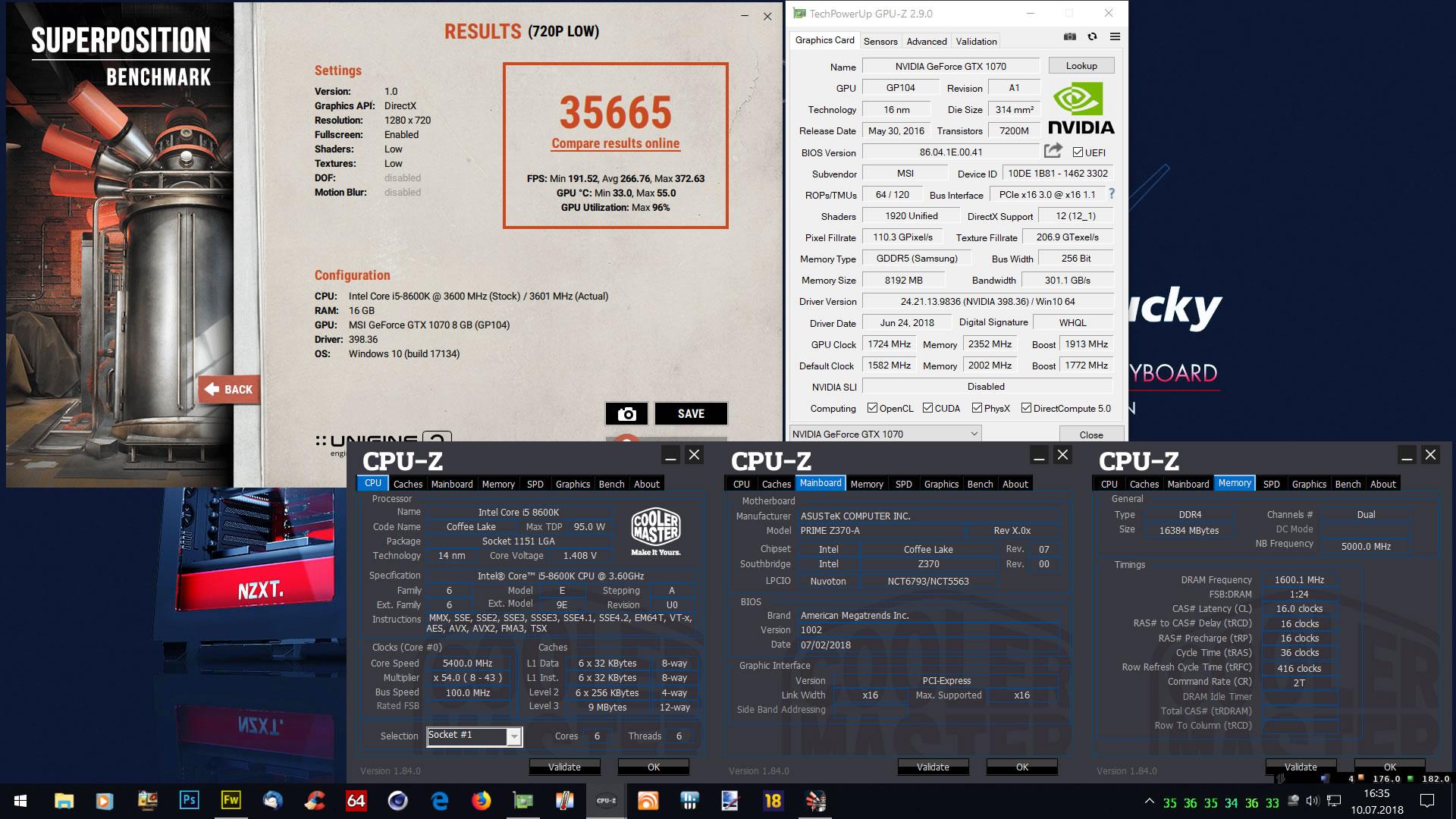 Klicken Sie auf die Grafik für eine größere Ansicht  Name:Unigine Superposition Low 720p mit i5 8600K by Zotac2012.jpg Hits:14 Größe:440,4 KB ID:1002386