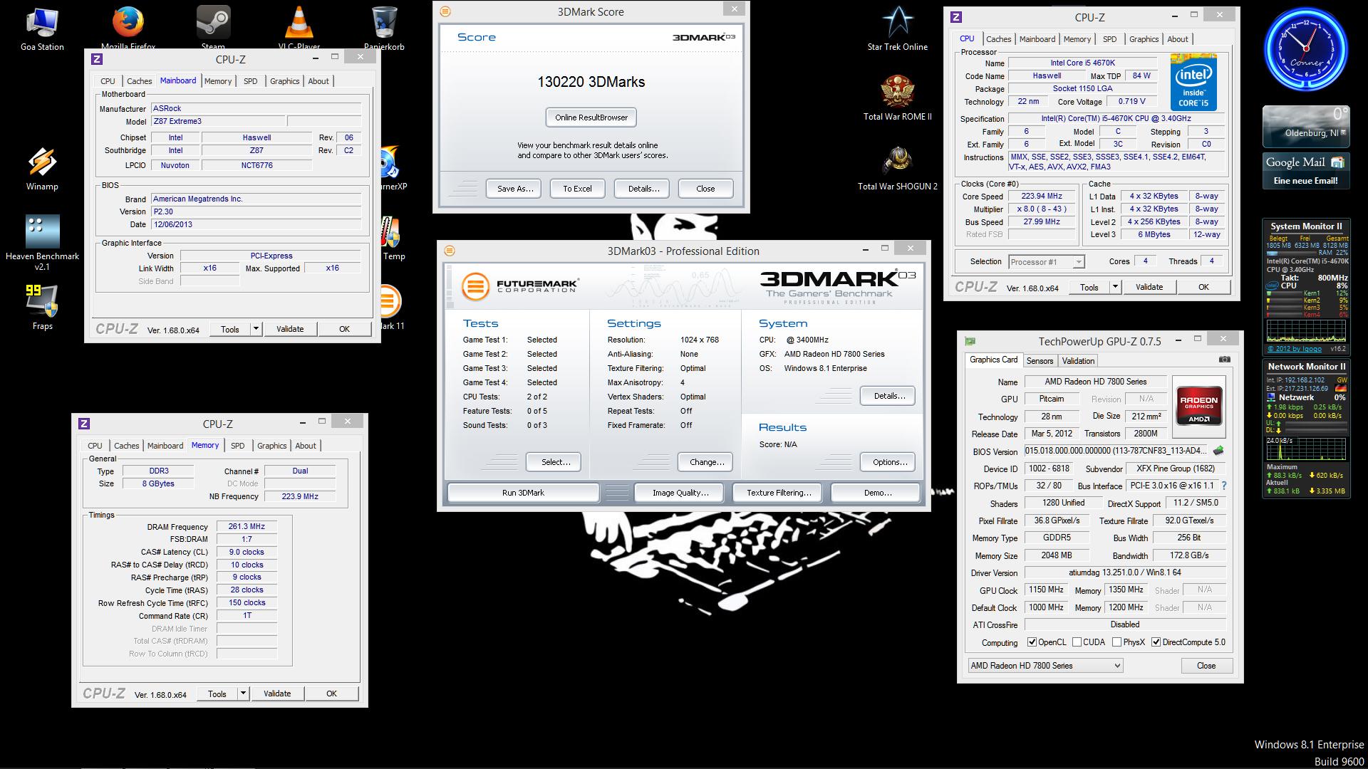 Benchmark Screen Shots