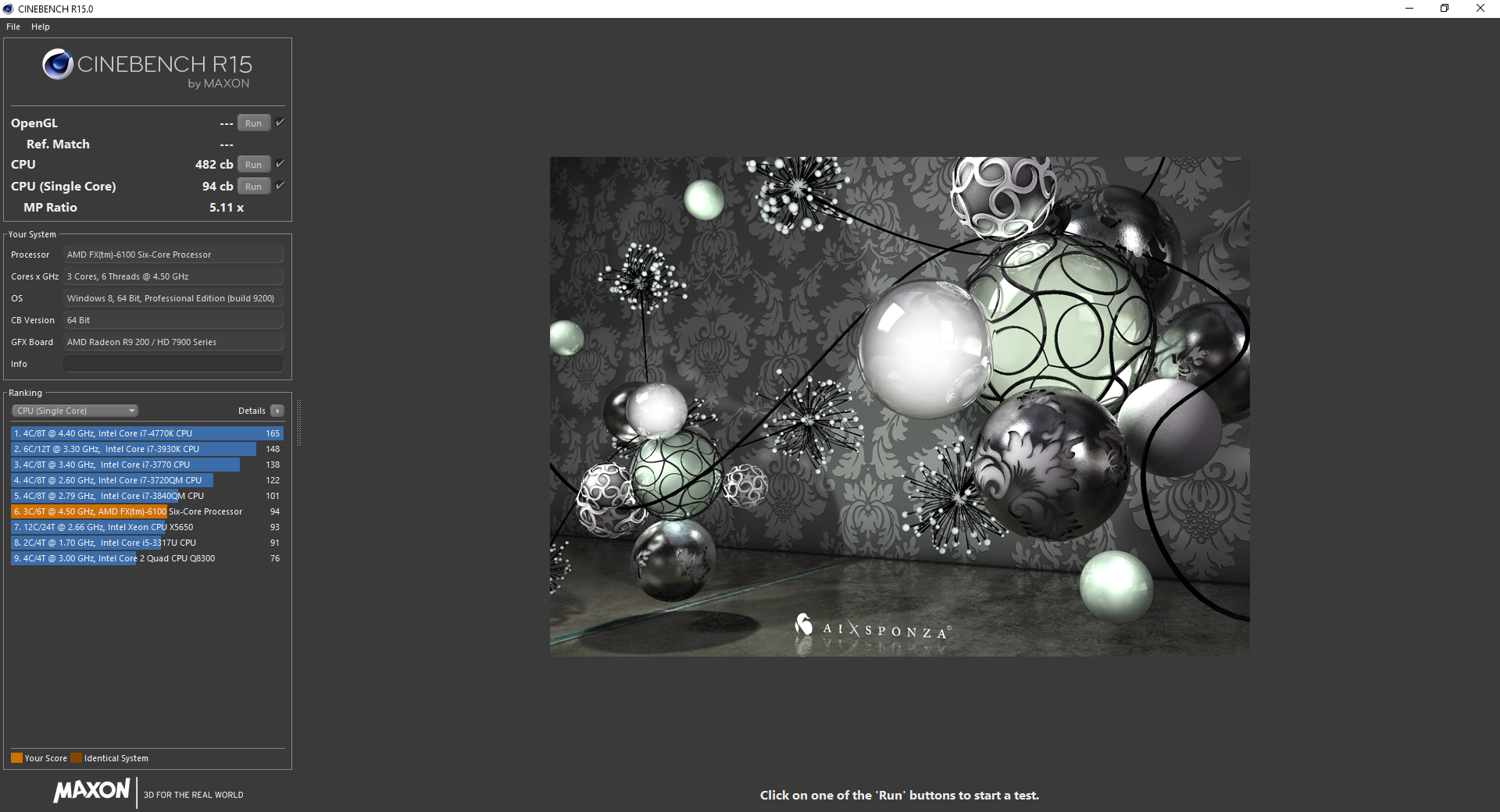 Cinebench R15 AMD FX 6100 4.50GHz