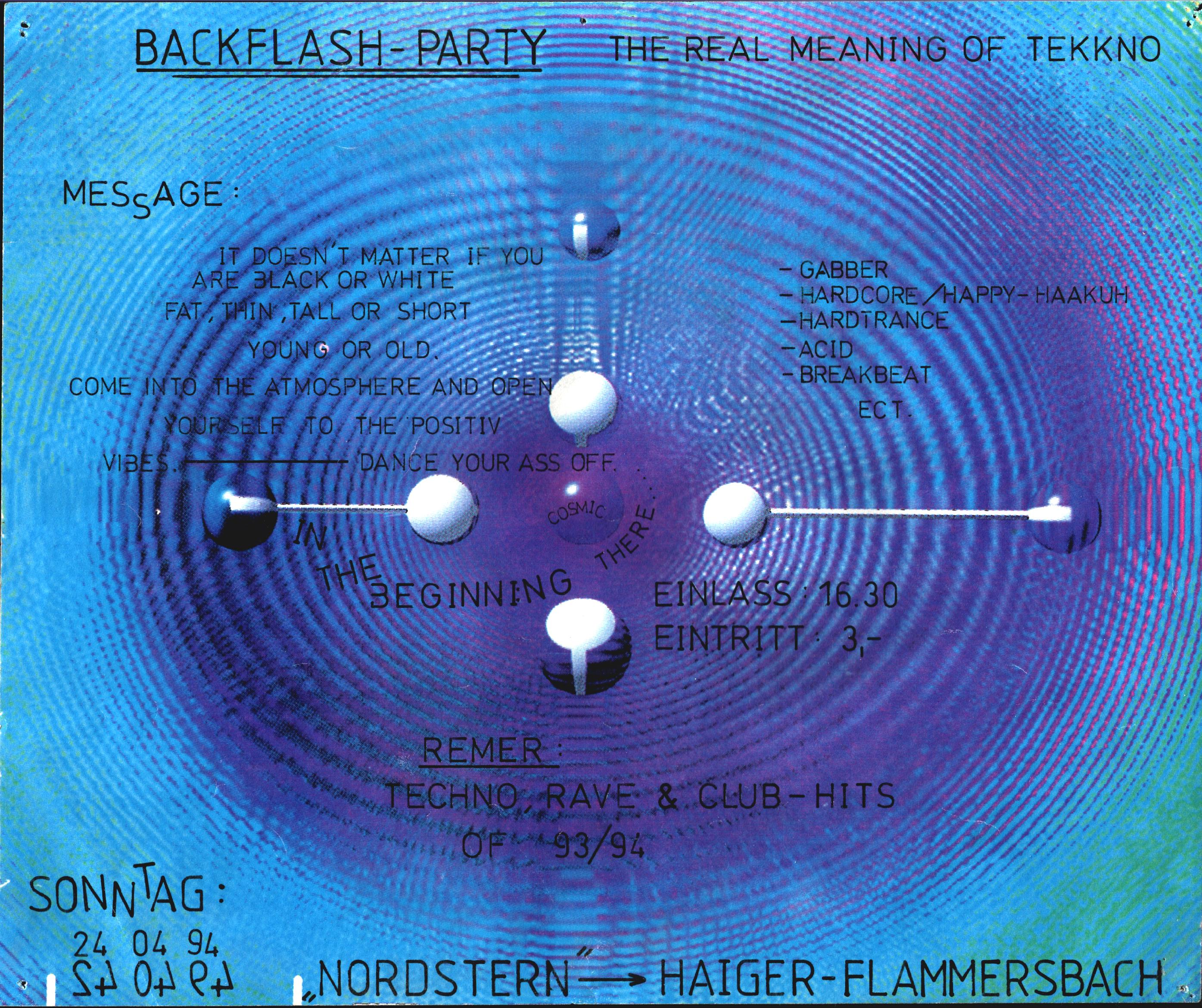 Flyer Backflash Party, 24.04.1994 (6 Tage vor der Mayday Rave-Olympia)